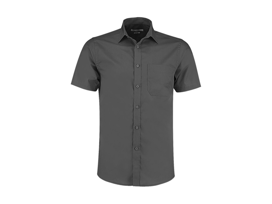 Kustom Kit Tailored Fit Poplin Shirt SSL, Graphite, 2XL bedrucken, Art.-Nr. 770111317