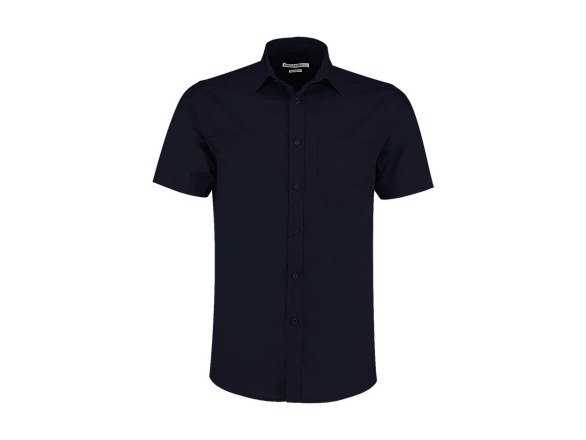 Kustom Kit Tailored Fit Poplin Shirt SSL, Dark Navy, L bedrucken, Art.-Nr. 770112045