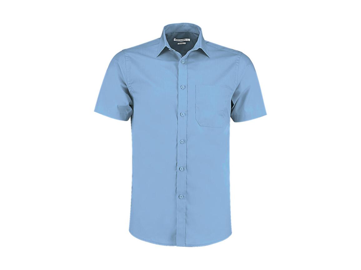 Kustom Kit Tailored Fit Poplin Shirt SSL, Light Blue, M bedrucken, Art.-Nr. 770113214