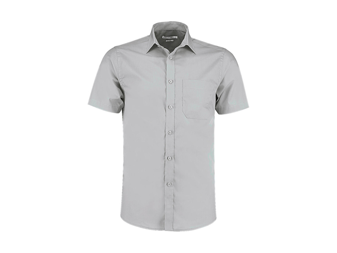 Kustom Kit Tailored Fit Poplin Shirt SSL, Light Grey, L bedrucken, Art.-Nr. 770117265
