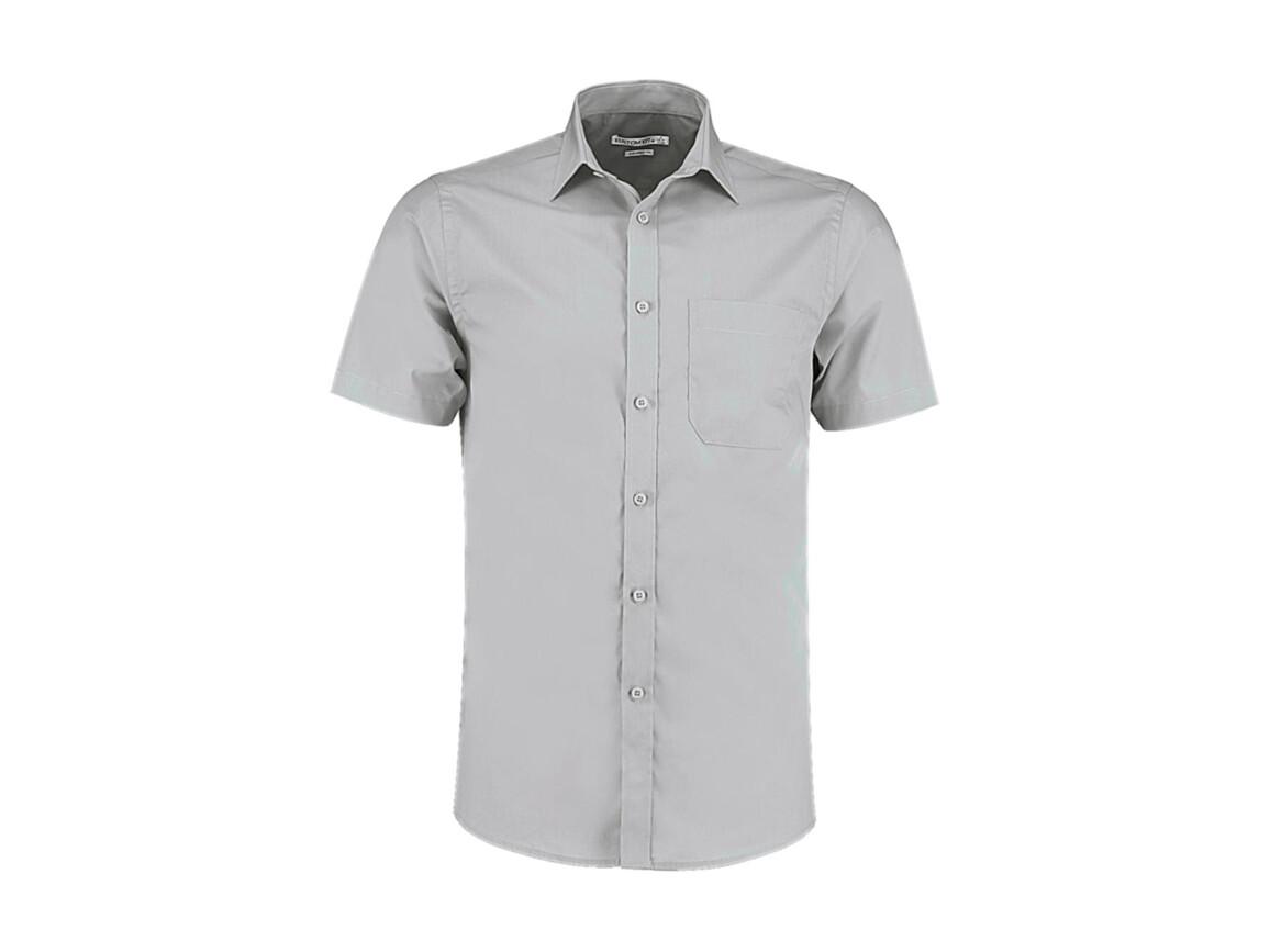 Kustom Kit Tailored Fit Poplin Shirt SSL, Light Grey, M bedrucken, Art.-Nr. 770117264