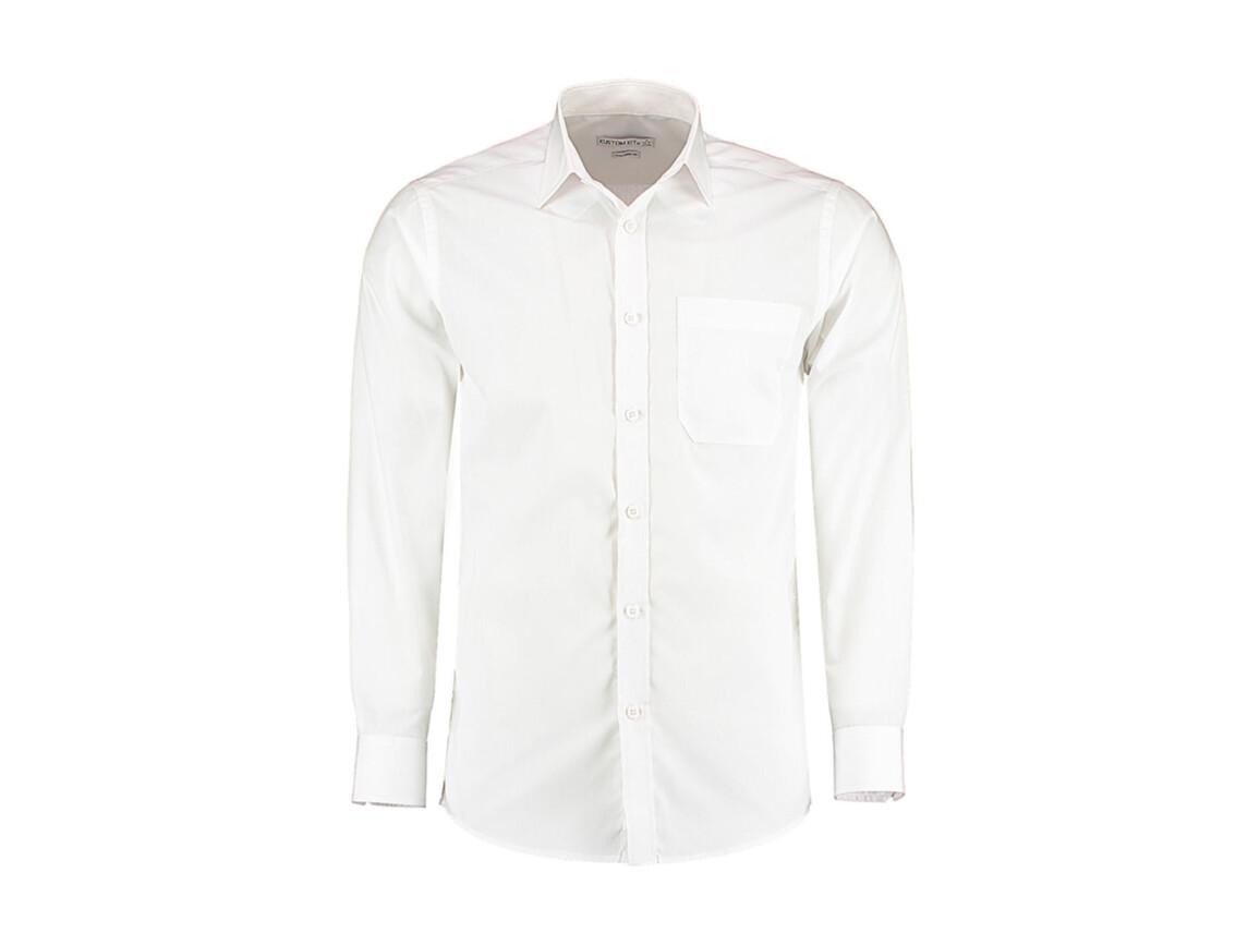 Kustom Kit Tailored Fit Poplin Shirt, White, L bedrucken, Art.-Nr. 771110005