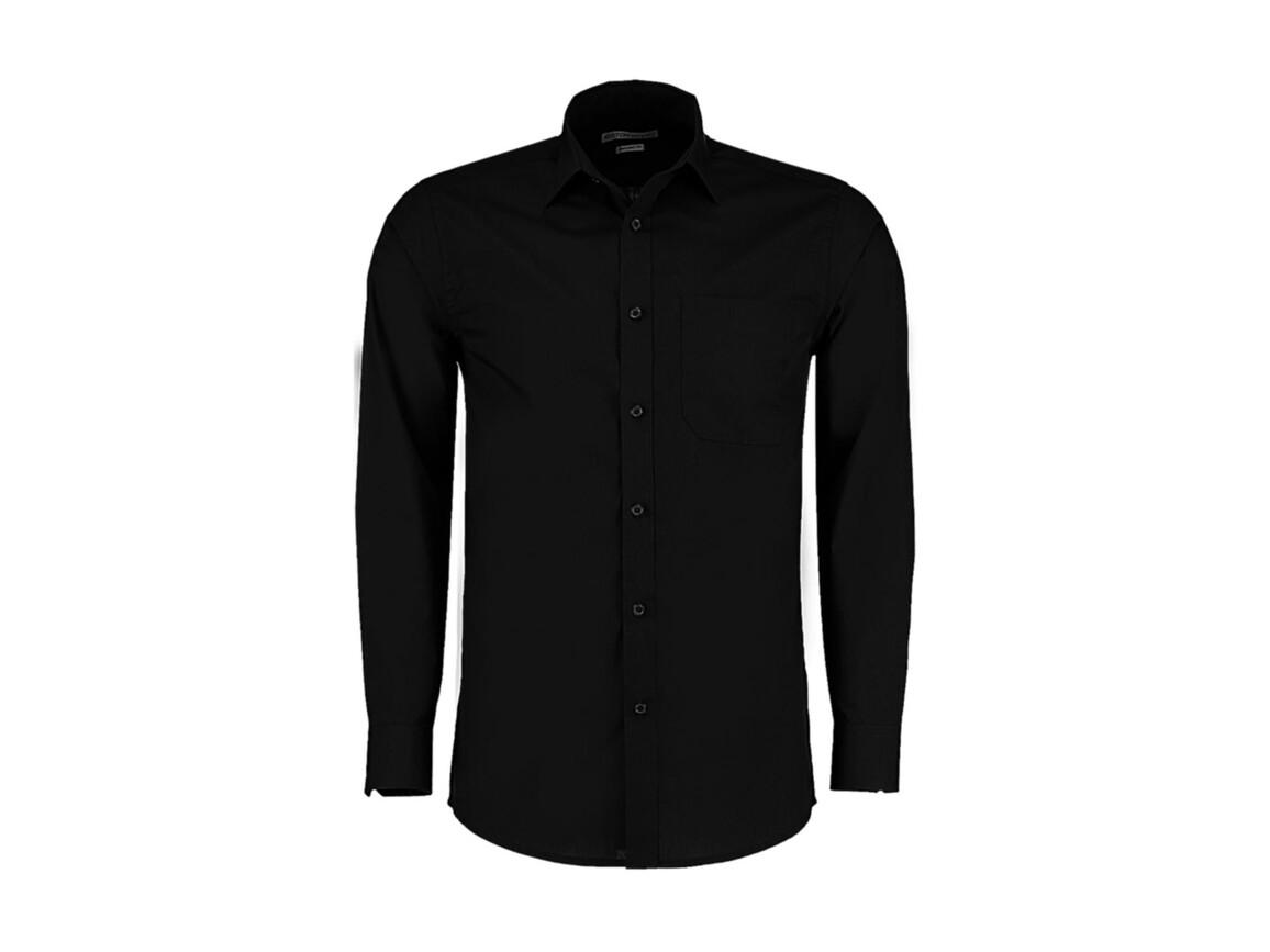 Kustom Kit Tailored Fit Poplin Shirt, Black, L bedrucken, Art.-Nr. 771111015