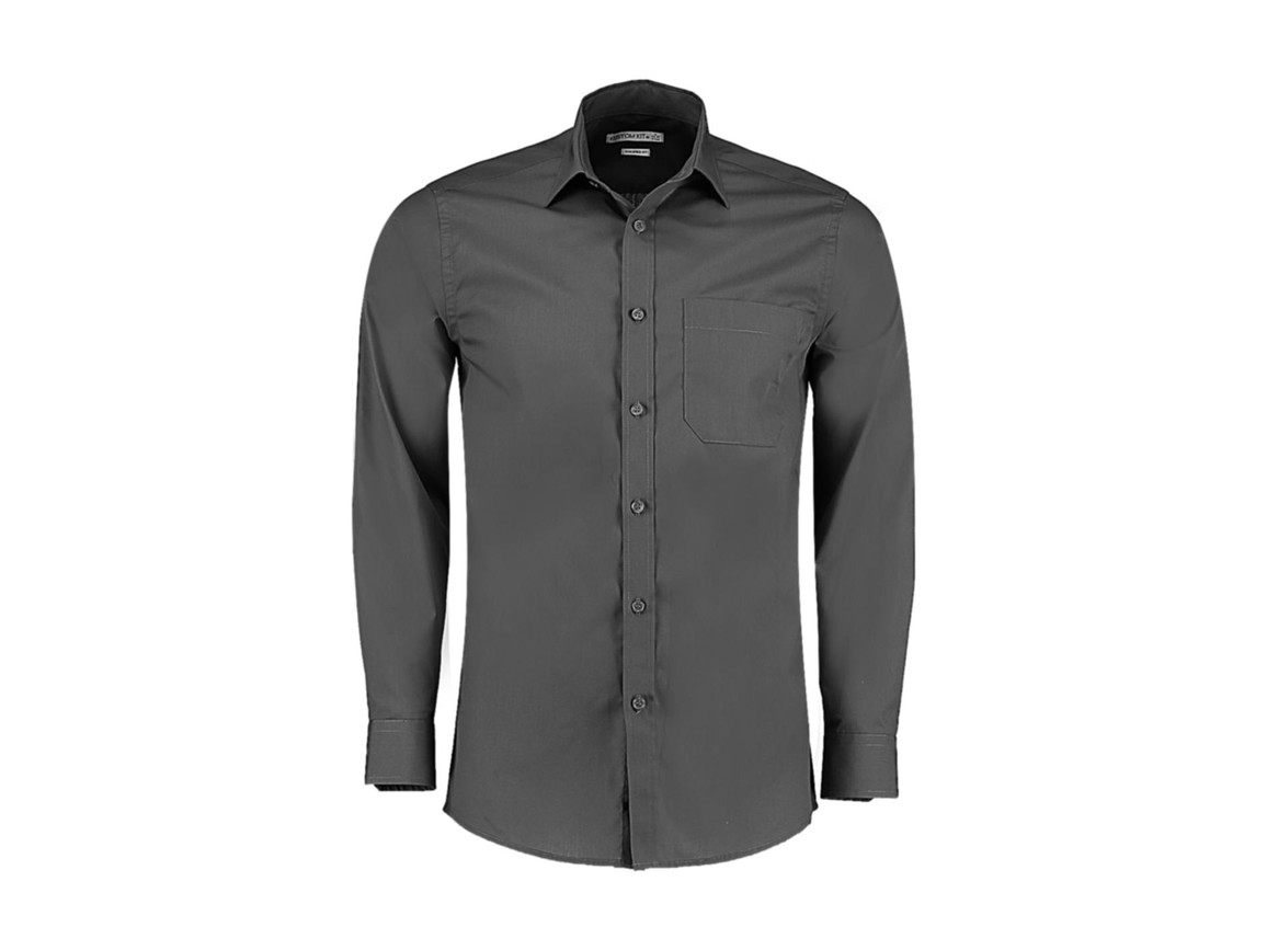 Kustom Kit Tailored Fit Poplin Shirt, Graphite, 2XL bedrucken, Art.-Nr. 771111317