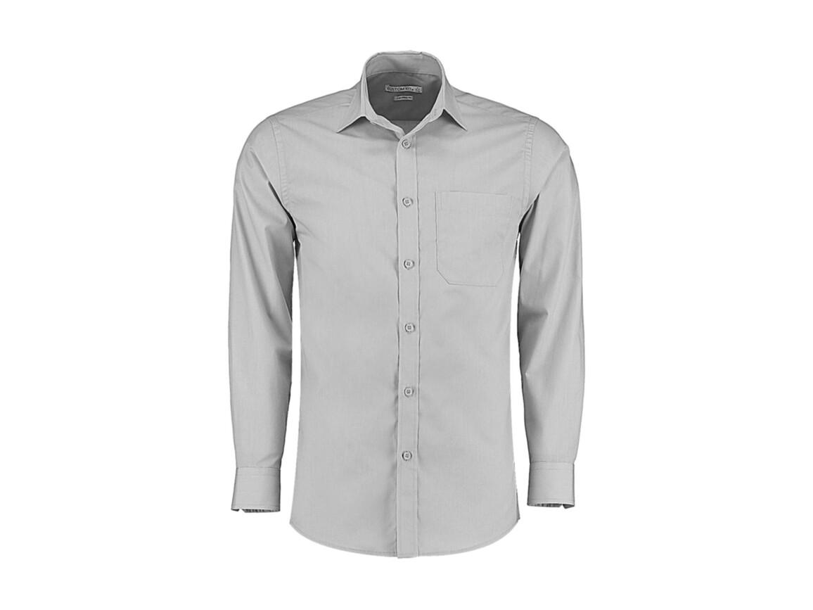 Kustom Kit Tailored Fit Poplin Shirt, Light Grey, M bedrucken, Art.-Nr. 771117264
