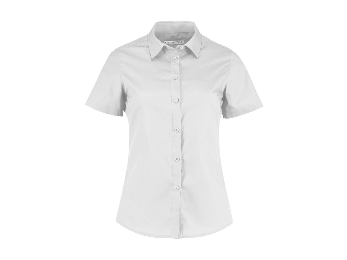 Kustom Kit Women`s Tailored Fit Poplin Shirt SSL, White, XL bedrucken, Art.-Nr. 772110006