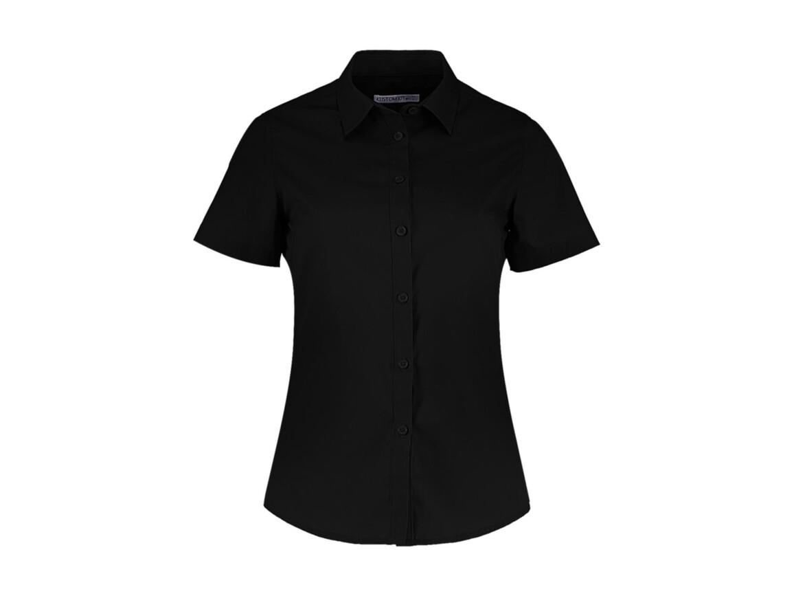 Kustom Kit Women`s Tailored Fit Poplin Shirt SSL, Black, M bedrucken, Art.-Nr. 772111014