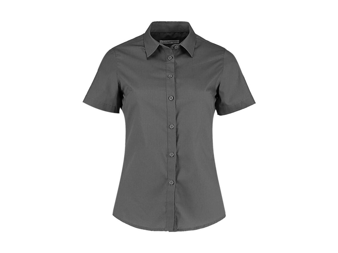 Kustom Kit Women`s Tailored Fit Poplin Shirt SSL, Graphite, XS bedrucken, Art.-Nr. 772111312