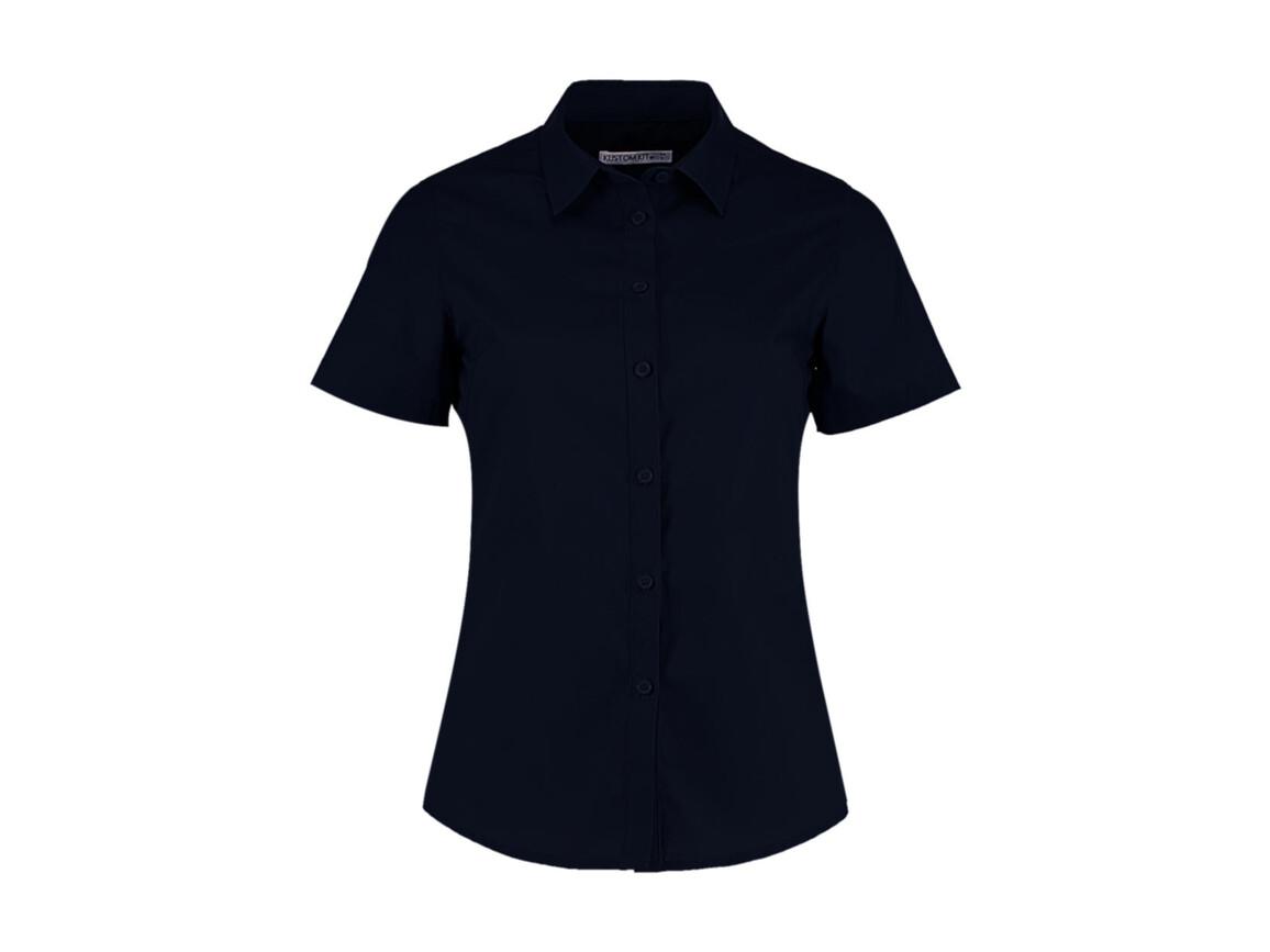 Kustom Kit Women`s Tailored Fit Poplin Shirt SSL, Dark Navy, L bedrucken, Art.-Nr. 772112045