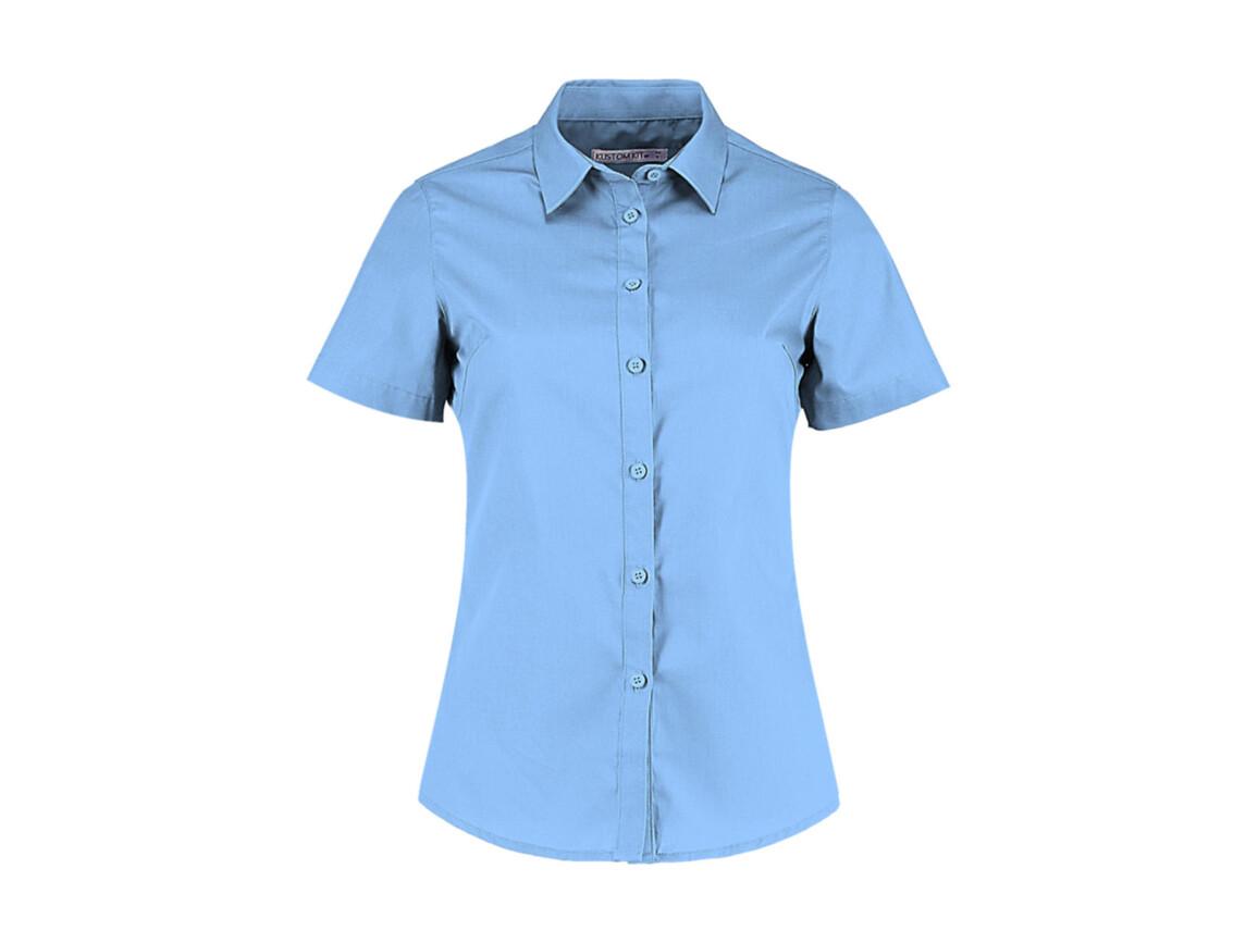 Kustom Kit Women`s Tailored Fit Poplin Shirt SSL, Light Blue, XS bedrucken, Art.-Nr. 772113212