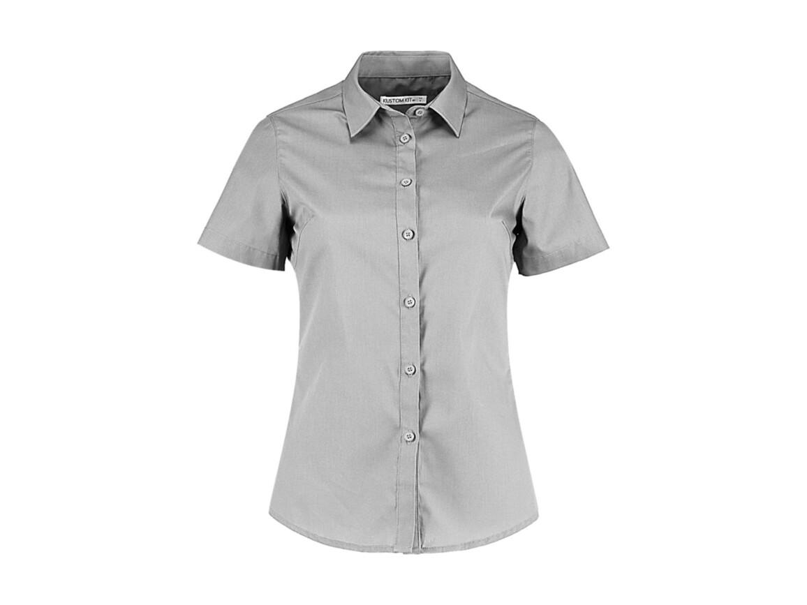 Kustom Kit Women`s Tailored Fit Poplin Shirt SSL, Light Grey, XS bedrucken, Art.-Nr. 772117262