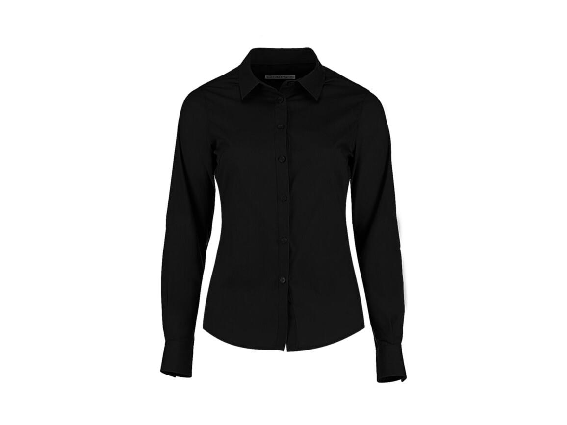 Kustom Kit Women`s Tailored Fit Poplin Shirt, Black, S bedrucken, Art.-Nr. 773111013