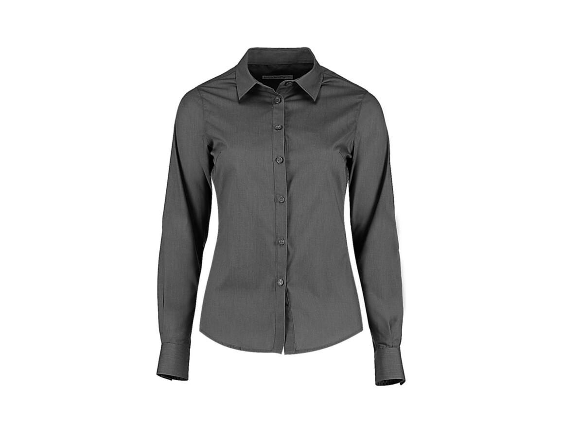 Kustom Kit Women`s Tailored Fit Poplin Shirt, Graphite, S bedrucken, Art.-Nr. 773111313