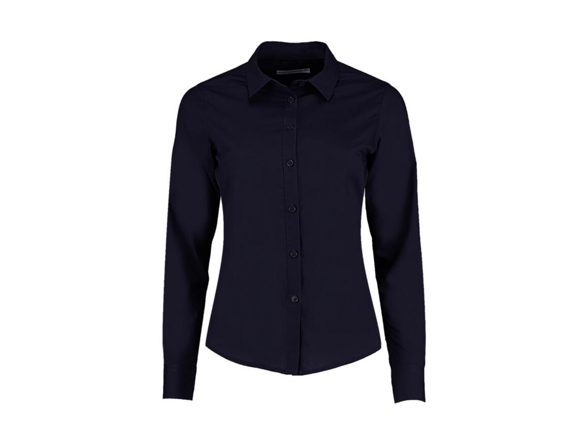 Kustom Kit Women`s Tailored Fit Poplin Shirt, Dark Navy, M bedrucken, Art.-Nr. 773112044