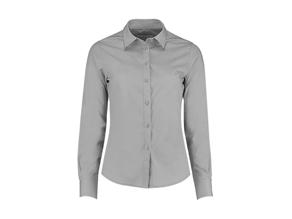 Kustom Kit Women`s Tailored Fit Poplin Shirt, Light Grey, S bedrucken, Art.-Nr. 773117263