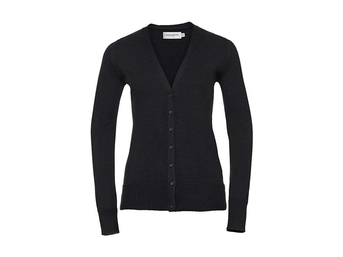 Russell Europe Ladies` V-Neck Knitted Cardigan, Black, M bedrucken, Art.-Nr. 774001014