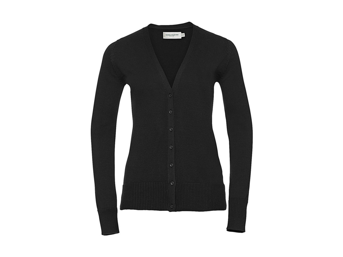 Russell Europe Ladies` V-Neck Knitted Cardigan, Charcoal Marl, L bedrucken, Art.-Nr. 774001165