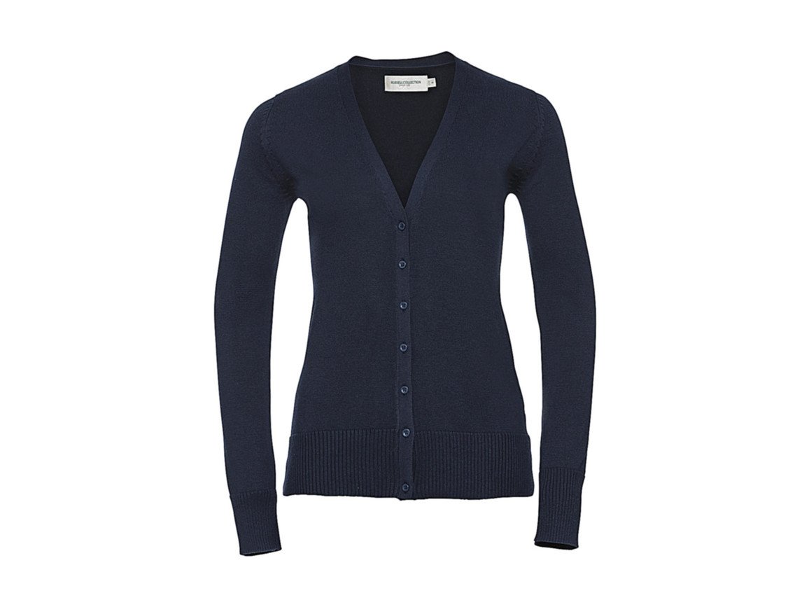 Russell Europe Ladies` V-Neck Knitted Cardigan, French Navy, 2XS bedrucken, Art.-Nr. 774002011