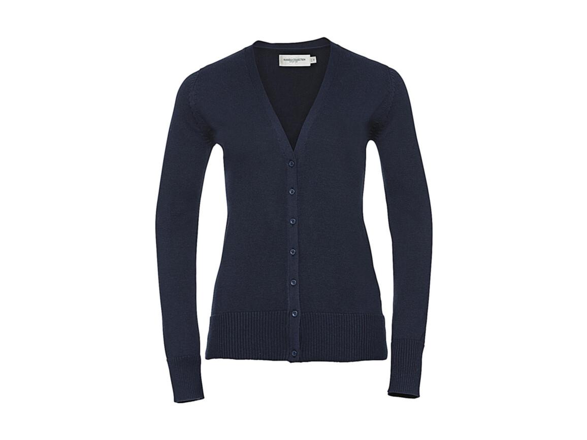 Russell Europe Ladies` V-Neck Knitted Cardigan, French Navy, L bedrucken, Art.-Nr. 774002015