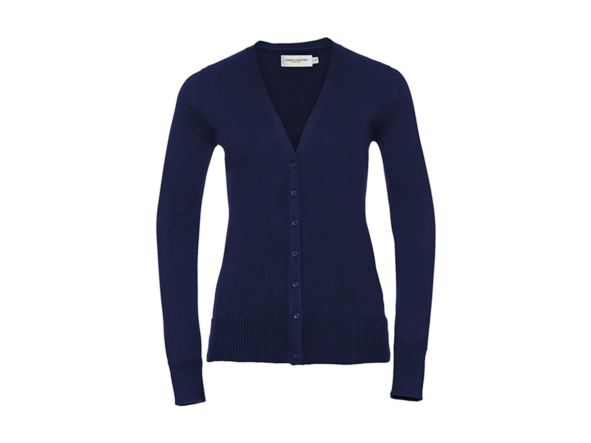 Russell Europe Ladies` V-Neck Knitted Cardigan, Denim Marl, 3XL bedrucken, Art.-Nr. 774003178
