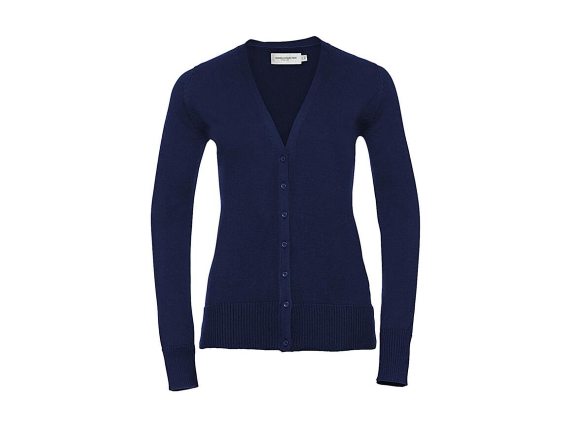 Russell Europe Ladies` V-Neck Knitted Cardigan, Denim Marl, XL bedrucken, Art.-Nr. 774003176