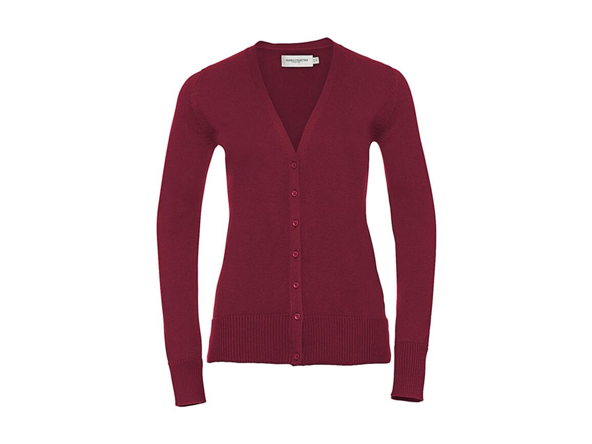 Russell Europe Ladies` V-Neck Knitted Cardigan, Cranberry Marl, XS bedrucken, Art.-Nr. 774004312