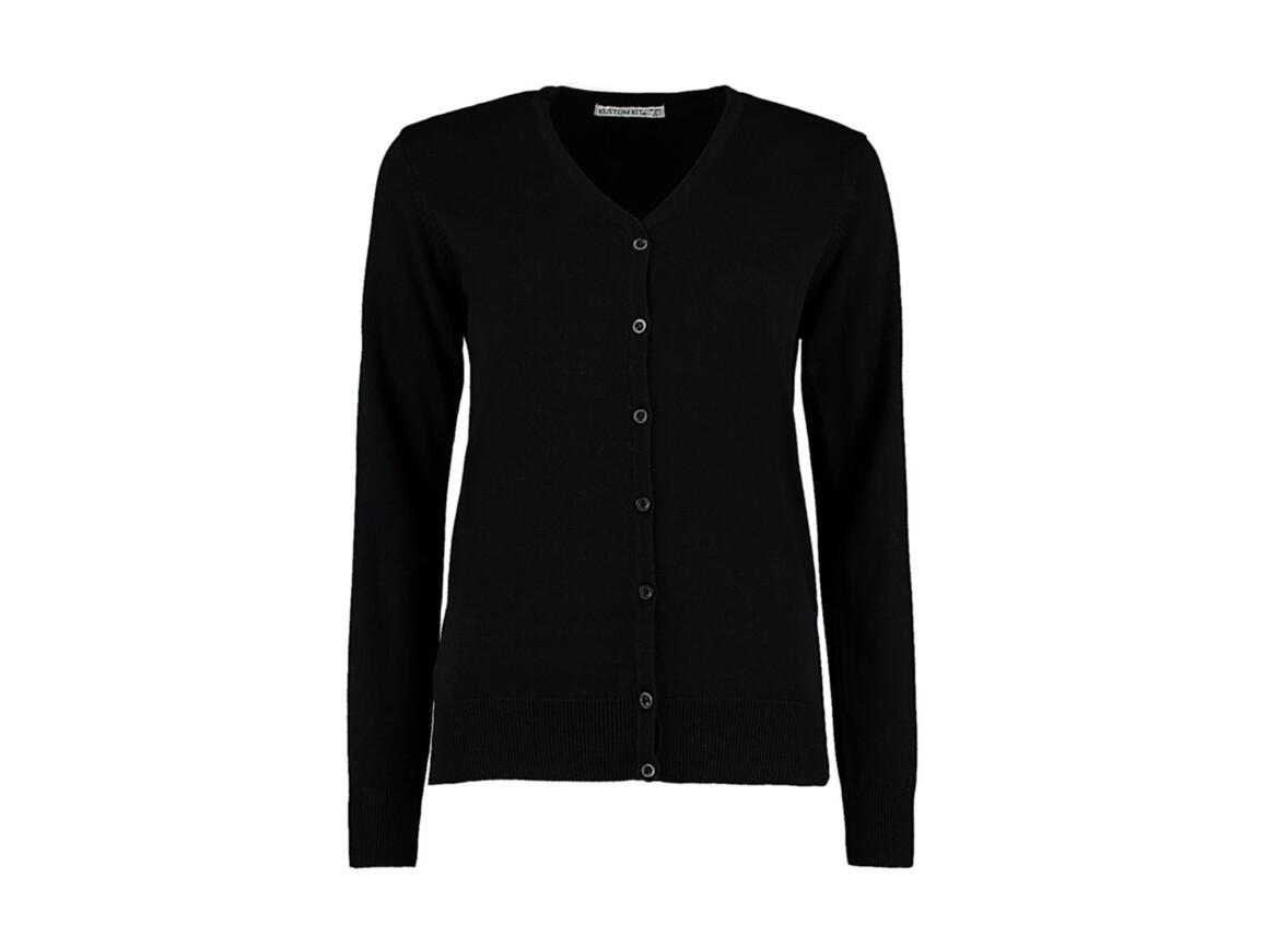 Kustom Kit Women`s Classic Fit Arundel V Neck Cardigan, Black, L bedrucken, Art.-Nr. 774111015