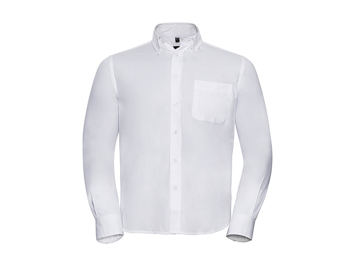 Russell Europe Long Sleeve Classic Twill Shirt, White, S bedrucken, Art.-Nr. 776000001
