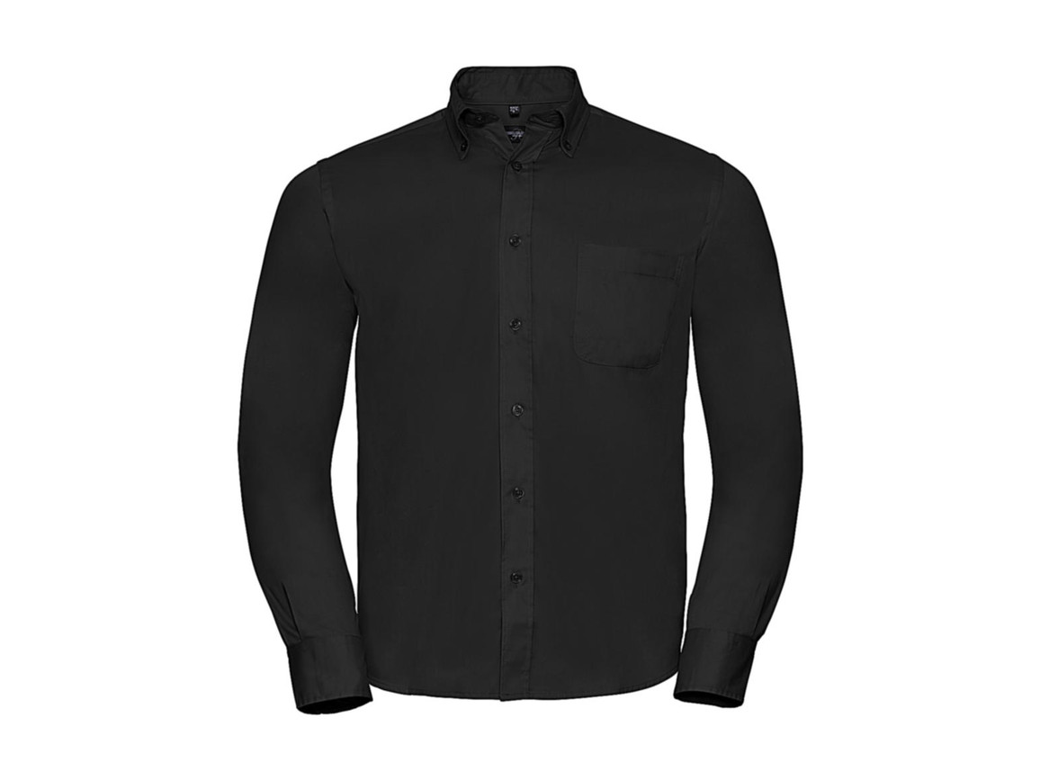 Russell Europe Long Sleeve Classic Twill Shirt, Black, 2XL bedrucken, Art.-Nr. 776001015