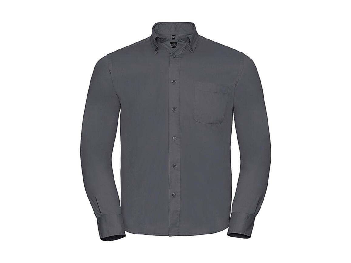 Russell Europe Long Sleeve Classic Twill Shirt, Zinc, XL bedrucken, Art.-Nr. 776001124