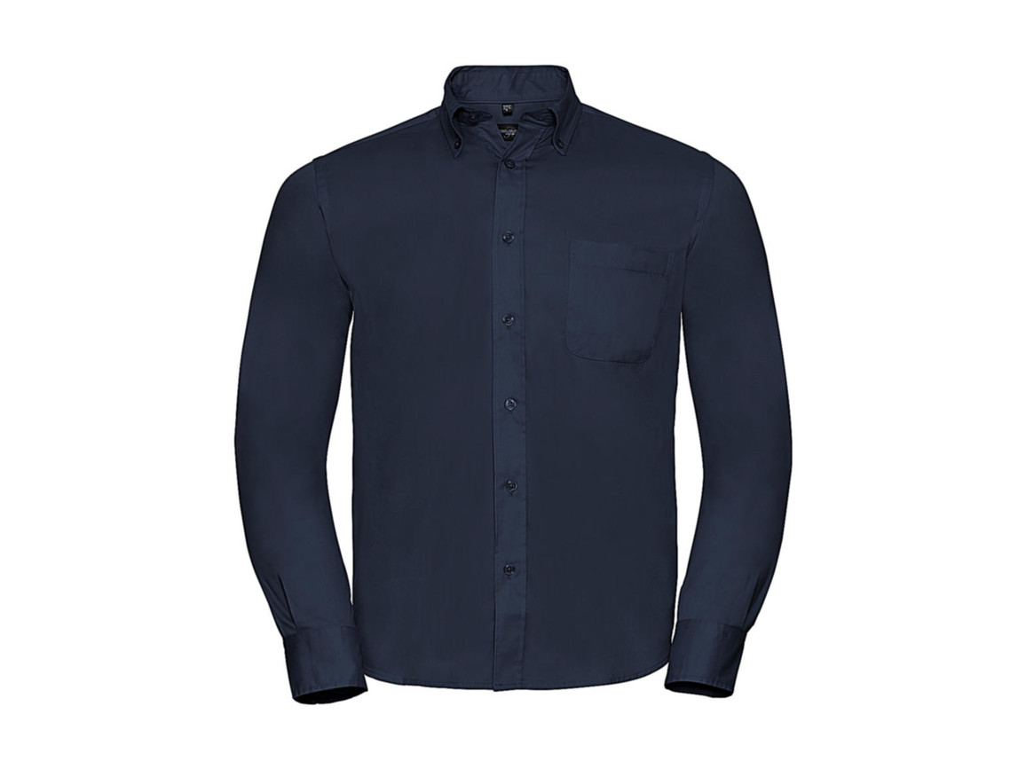 Russell Europe Long Sleeve Classic Twill Shirt, French Navy, S bedrucken, Art.-Nr. 776002011