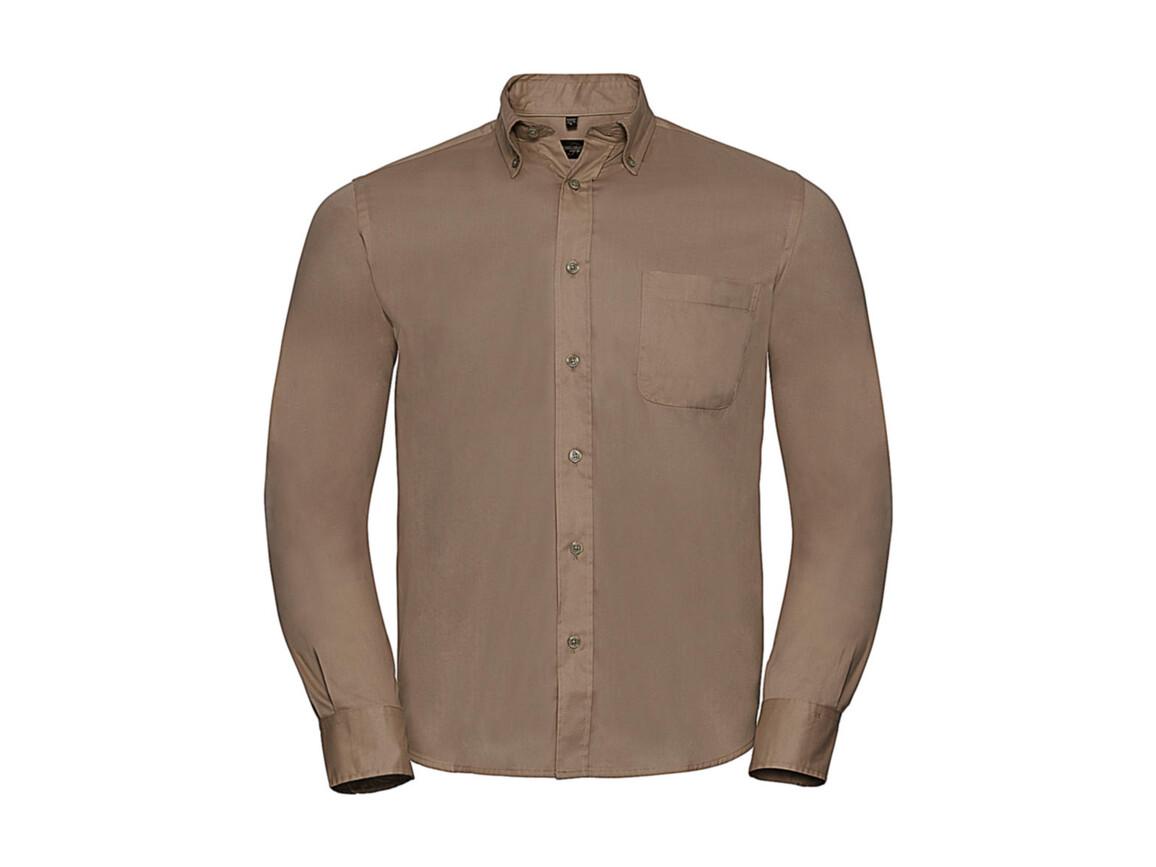 Russell Europe Long Sleeve Classic Twill Shirt, Khaki, M bedrucken, Art.-Nr. 776007312