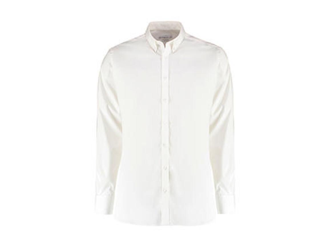 Kustom Kit Slim Fit Stretch Oxford Shirt LS, White, 2XL bedrucken, Art.-Nr. 776110007