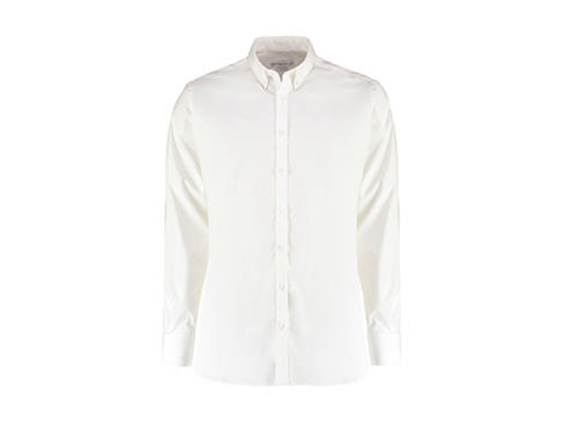 Kustom Kit Slim Fit Stretch Oxford Shirt LS, White, M bedrucken, Art.-Nr. 776110004