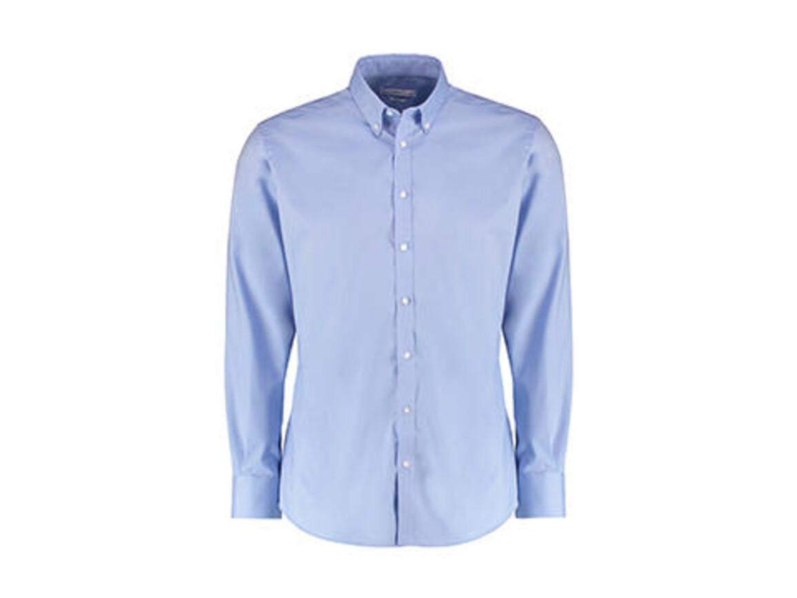 Kustom Kit Slim Fit Stretch Oxford Shirt LS, Light Blue, S bedrucken, Art.-Nr. 776113213