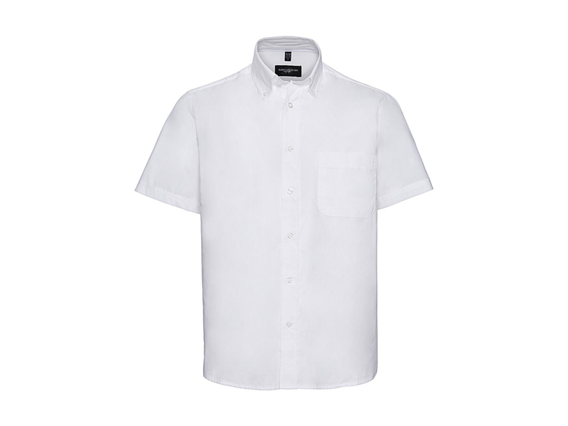 Russell Europe Short Sleeve Classic Twill Shirt, White, S bedrucken, Art.-Nr. 777000001