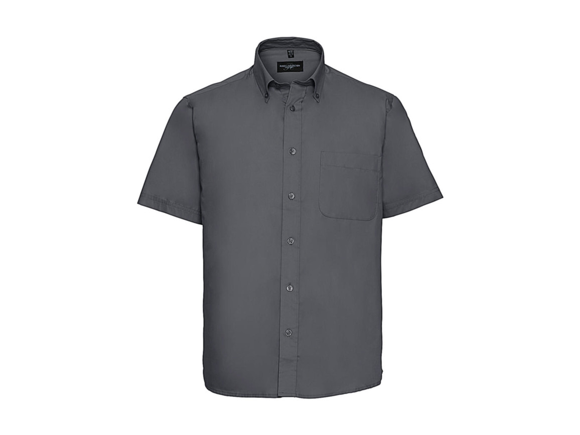 Russell Europe Short Sleeve Classic Twill Shirt, Zinc, L bedrucken, Art.-Nr. 777001123
