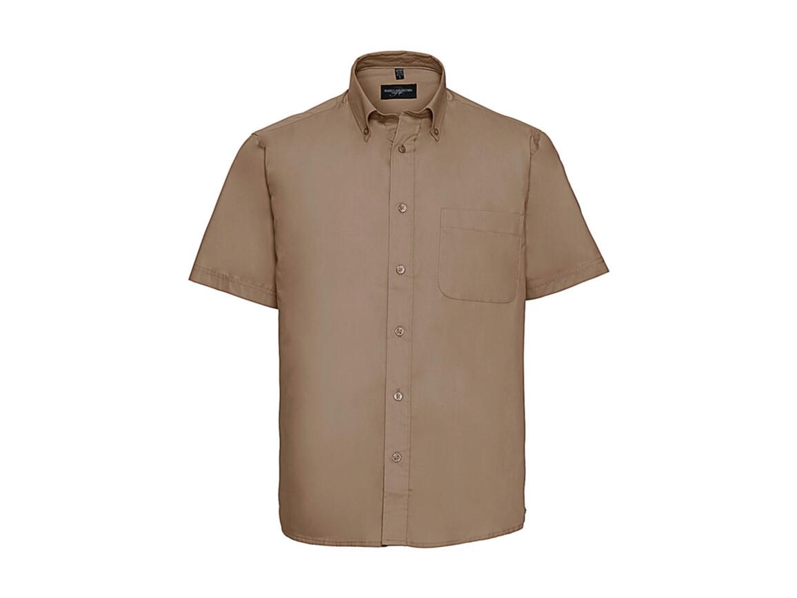 Russell Europe Short Sleeve Classic Twill Shirt, Khaki, M bedrucken, Art.-Nr. 777007312