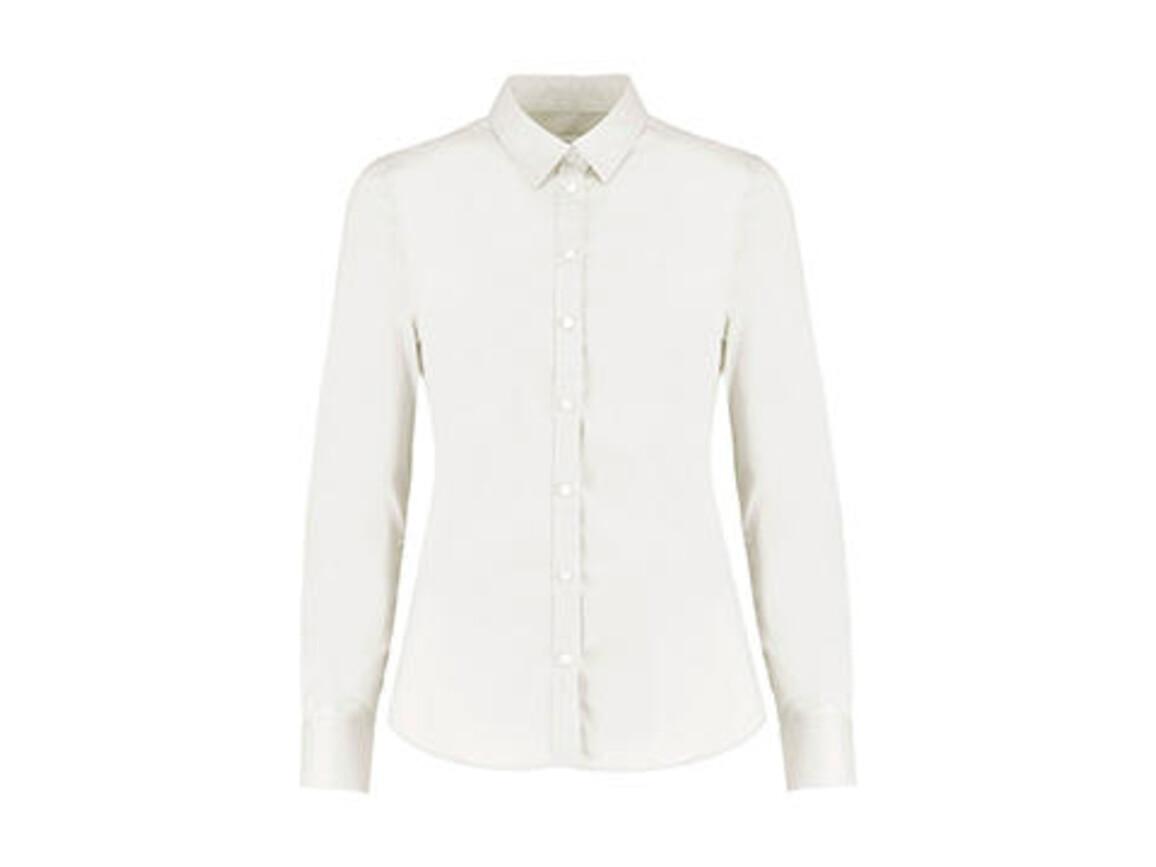 Kustom Kit Women`s Tailored Fit Stretch Oxford Shirt LS, White, S bedrucken, Art.-Nr. 777110003