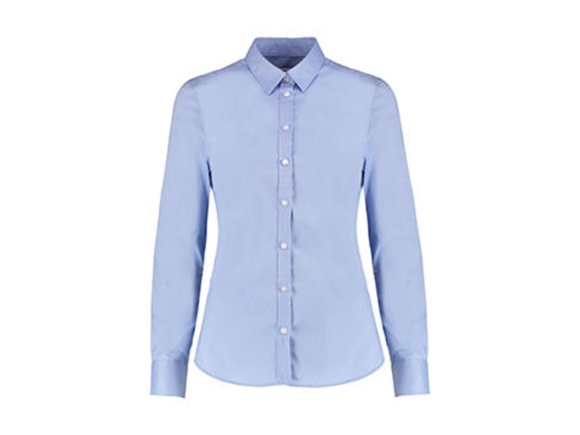 Kustom Kit Women`s Tailored Fit Stretch Oxford Shirt LS, Light Blue, 2XS bedrucken, Art.-Nr. 777113211