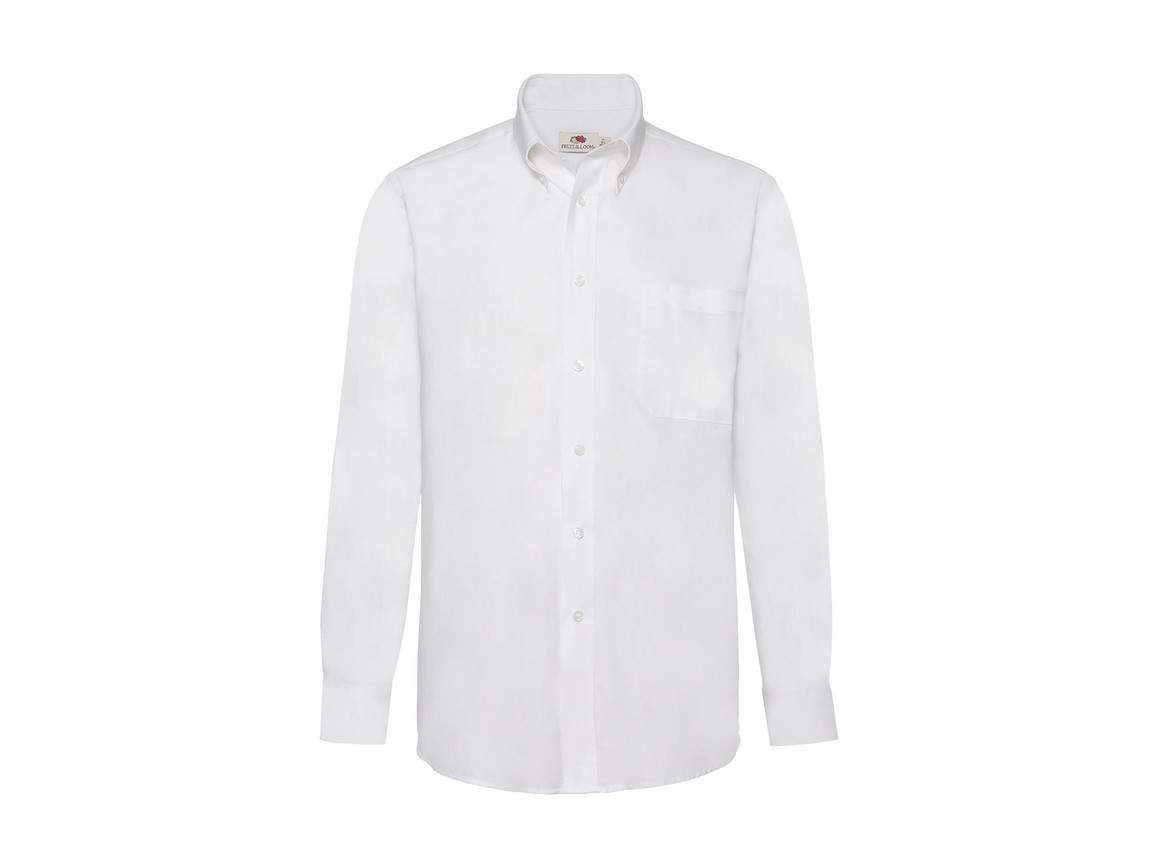 Fruit of the Loom Oxford Shirt LS, White, 2XL bedrucken, Art.-Nr. 778010007