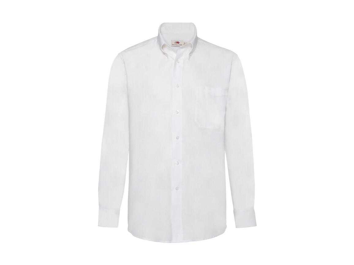Fruit of the Loom Oxford Shirt LS, White, M bedrucken, Art.-Nr. 778010004