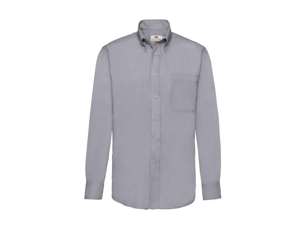 Fruit of the Loom Oxford Shirt LS, Oxford Grey, 2XL bedrucken, Art.-Nr. 778011147