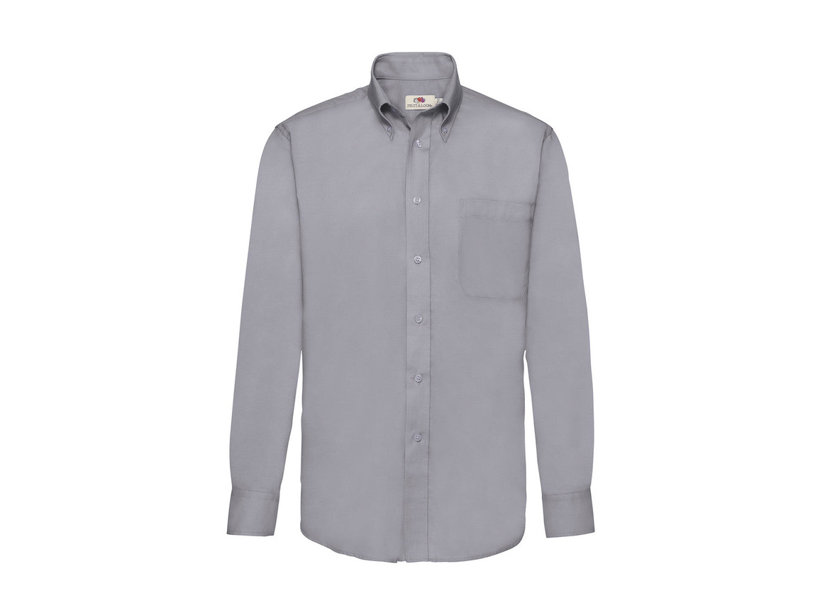 Fruit of the Loom Oxford Shirt LS, Oxford Grey, 3XL bedrucken, Art.-Nr. 778011148