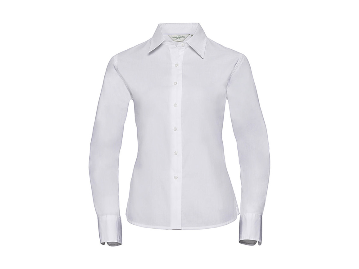 Russell Europe Ladies` Classic Twill Shirt LS, White, 2XL (44) bedrucken, Art.-Nr. 779000007
