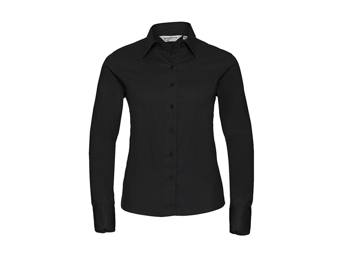 Russell Europe Ladies` Classic Twill Shirt LS, Black, L (40) bedrucken, Art.-Nr. 779001015