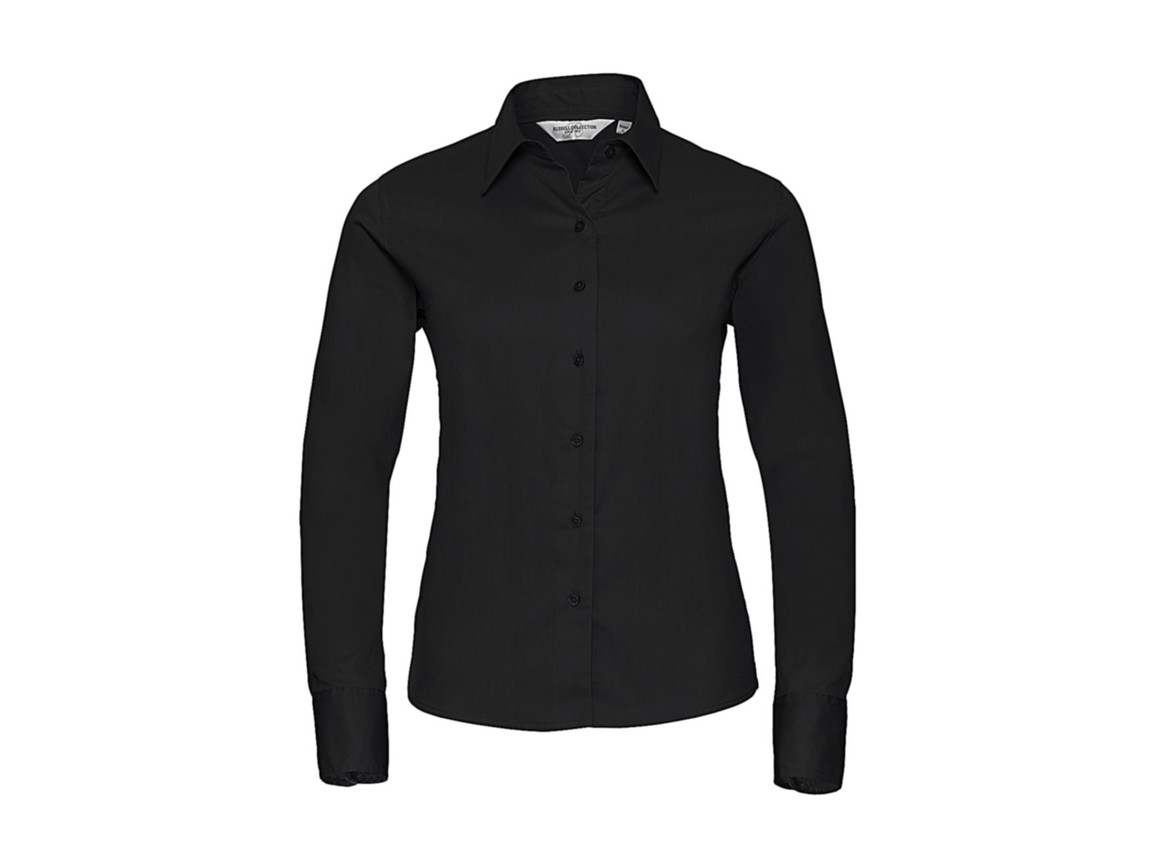 Russell Europe Ladies` Classic Twill Shirt LS, Black, XS (34) bedrucken, Art.-Nr. 779001012