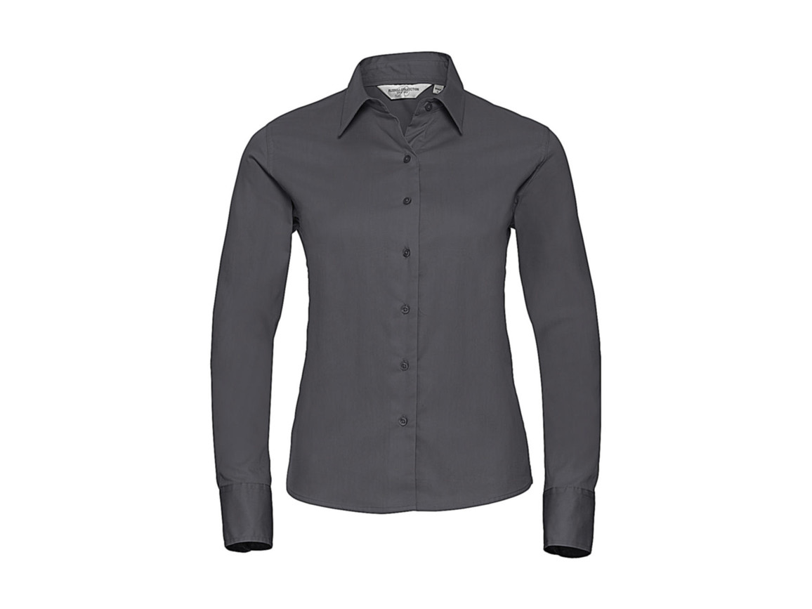 Russell Europe Ladies` Classic Twill Shirt LS, Zinc, M (38) bedrucken, Art.-Nr. 779001124