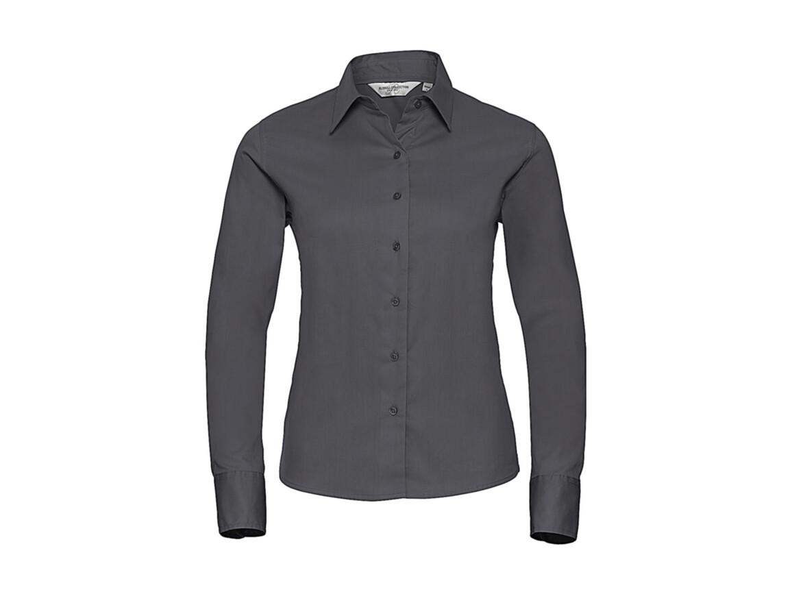 Russell Europe Ladies` Classic Twill Shirt LS, Zinc, XL (42) bedrucken, Art.-Nr. 779001126