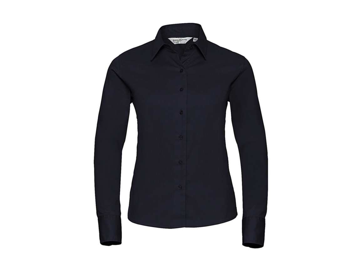 Russell Europe Ladies` Classic Twill Shirt LS, French Navy, M (38) bedrucken, Art.-Nr. 779002014